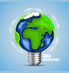 Creative idea earth lamp earth sign green energy vector