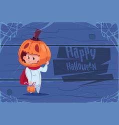 Cute kid wear scarecrow costume jack lantern happy vector