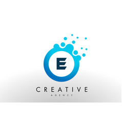 E letter logo blue dots bubble design vector