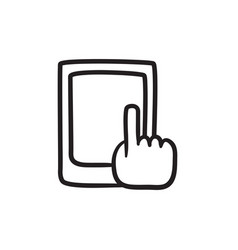 Finger pointing at tablet sketch icon vector