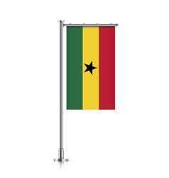 Flag of ghana hanging on a pole vector