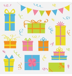 Gift box icon set Triangle paper flags Ribbon vector image vector image
