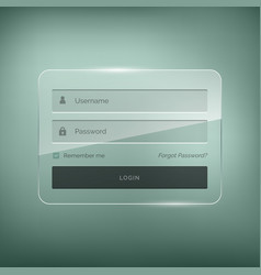 Glossy stylish login form design with username vector