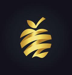 Gold apple fruit abstract ribbon fresh logo vector