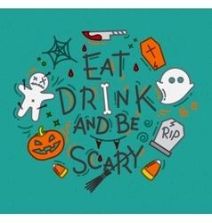 Halloween poster flat turquoise vector