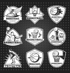 hand drawn basketball emblems set vector image vector image