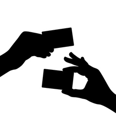 hand hold a blank card black silhouette vector image