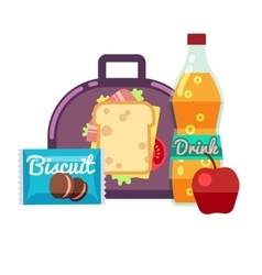 Kids lunch box bag with snacks meal and vector
