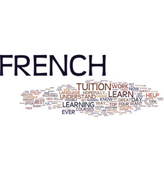 Learn french guide text background word cloud vector