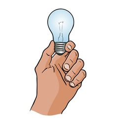 light bulb in the hand vector image
