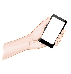 Man hand holding a smartphone with blank screen vector image vector image