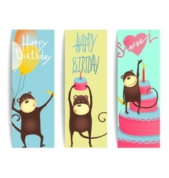 Monkey fun cards with birthday lettering vector