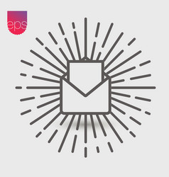 Open envelope simple icon emblem isolated on grey vector