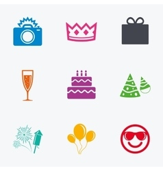 Party celebration birthday icons Fireworks vector image vector image