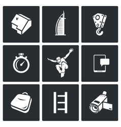 Roofer icons set vector
