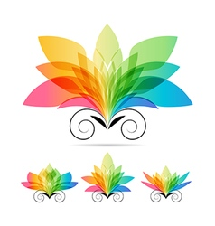 Set color art flowers vector image vector image