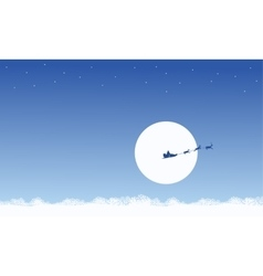 Silhouette of train santa on the sky scenery vector