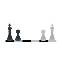 Silhouette with kings and pawns chess vector