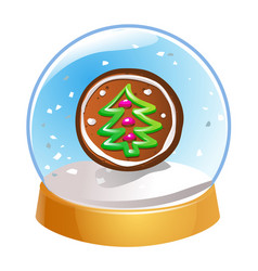Snow globe with christmas fir tree inside isolated vector