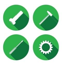 Tools icons set screwdriver hammer cogwheel bolt vector