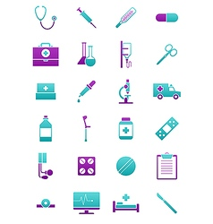 Turquoise pink medicine icons set vector image vector image