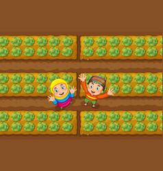 two muslim kids in vegetable garden vector image vector image