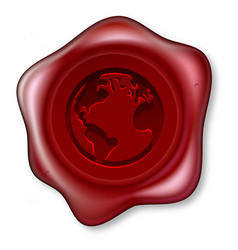 world globe sealing wax vector image vector image