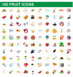 100 fruit icons set cartoon style vector image