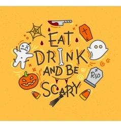 Halloween poster flat mustard vector image
