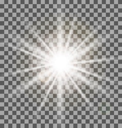 White rays light effect isolated on transparent vector
