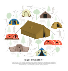 Camping tents selection composition advertisement vector