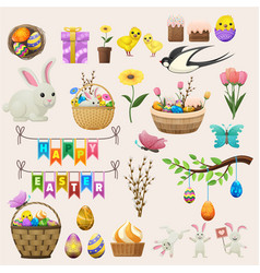 Happy easter concept colourful poster of labels vector