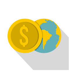 globe and dollar coin icon flat style vector image