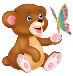 Cute cartoon baby bear playing with butterfly vector