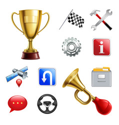 Racing game realistic icon set vector
