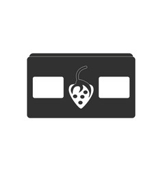 black icon on white background videocassette and vector image