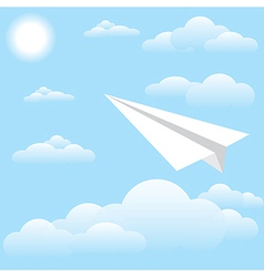 Paper plane at sky sun and cloud vector image