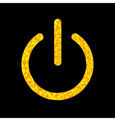 Yellow power button icon black background polygona vector
