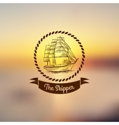 Ship emblem on light background vector