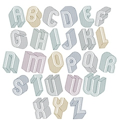 3d font with lines textures simple shaped bold vector image vector image