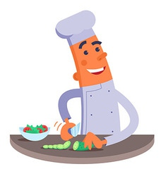 Cartoon chef cuts the vegetables for salad vector