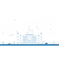 Outline taj mahal with tree vector
