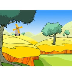 Cartoon landscape of a wheat field with trees vector