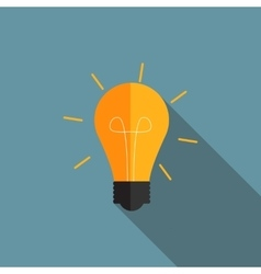 Idea bulb flat icon with long shadow vector