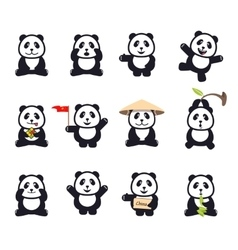 Set of cute funny cartoon pandas vector