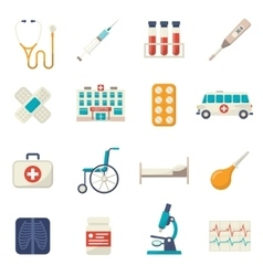 Medical icons flat set vector