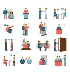 Meeting people flat color icons vector