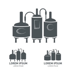 Set - beer brewery elements icons logos vector