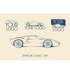 American classic sports car silhouettes vector