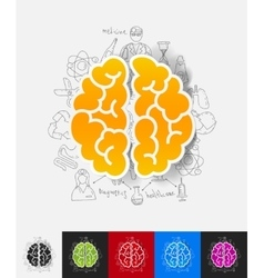 Brain paper sticker with hand drawn elements vector